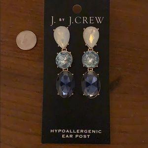 J Crew triple drop crystal statement earrings
